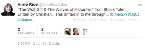 From Anne Rice's Twitter Account: